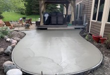 Exposed aggregate with hot tub pad (in progress) – Caledonia, WI