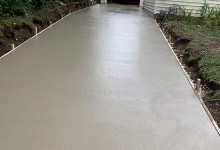 Concrete driveway – pour in process