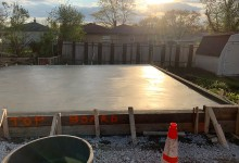 Garage floor concrete slab – final finish with hand trowel