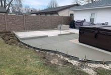 Concrete patio and concrete slab for shed