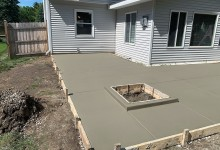 Concrete patio with 3' curb for fire pit