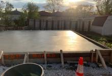 Garage floor concrete slab – final finish with hand trowel